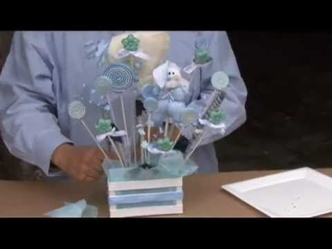 Cómo hacer un centro de mesa para baby shower con caramelo de fomy - centros de mesa para baby shower