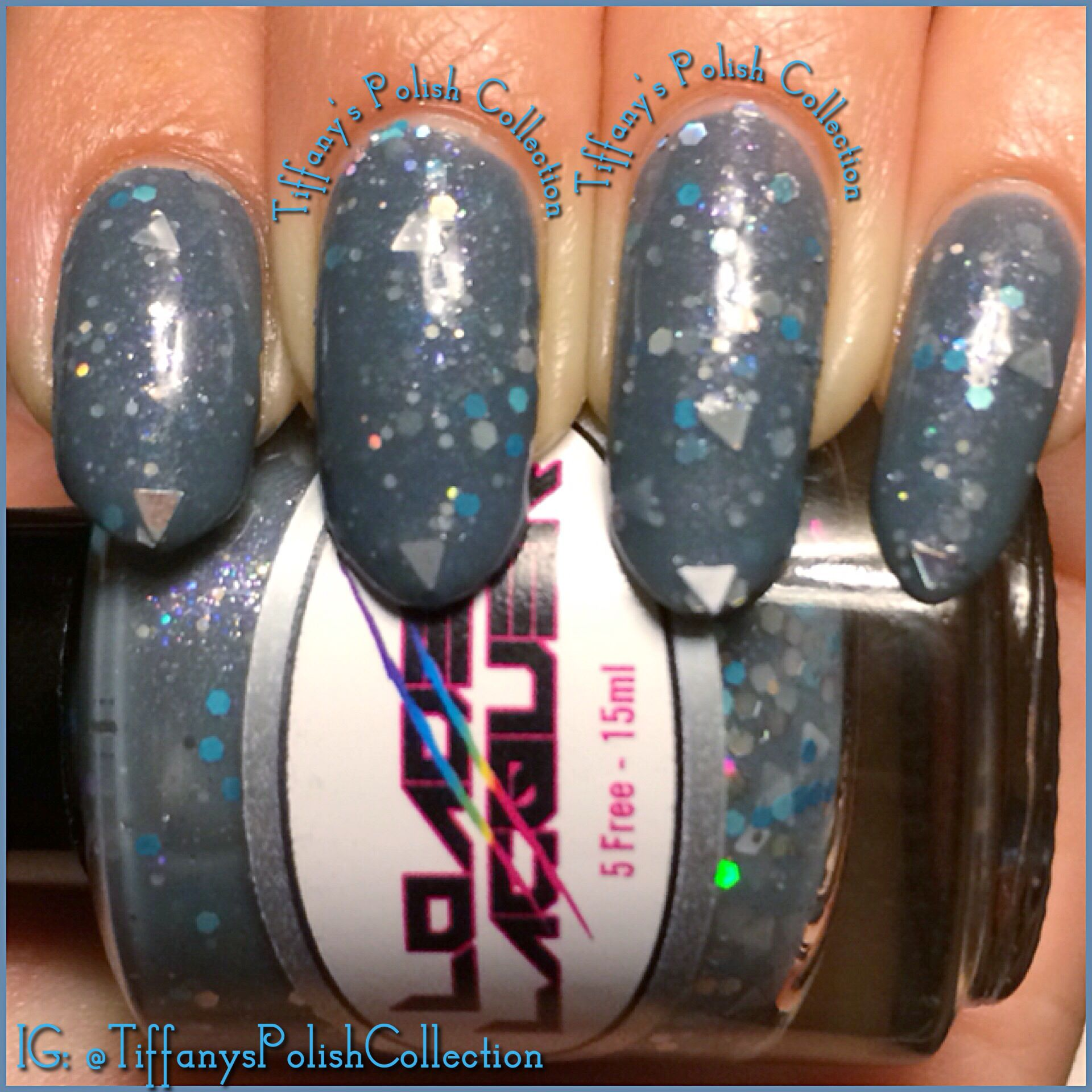 Loadedlacquer Megalodon. 2 coats with glitter placement. Triangles ...