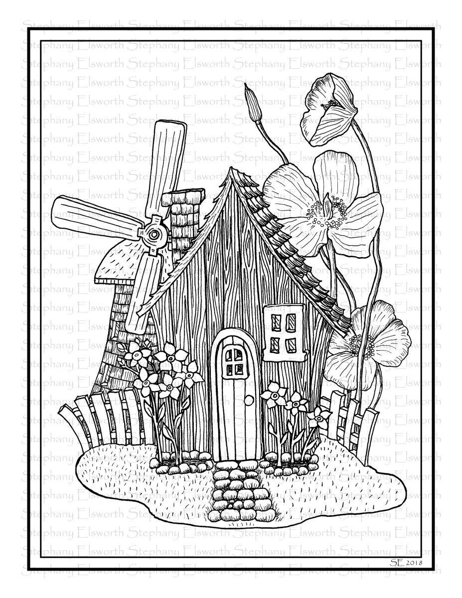 Fairy Cottage With Windmill Printable Coloring Page Coloring