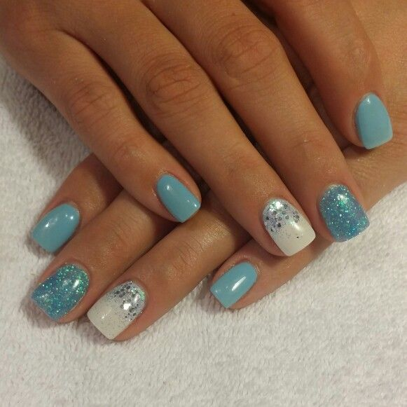 blue and white gel glitter nails