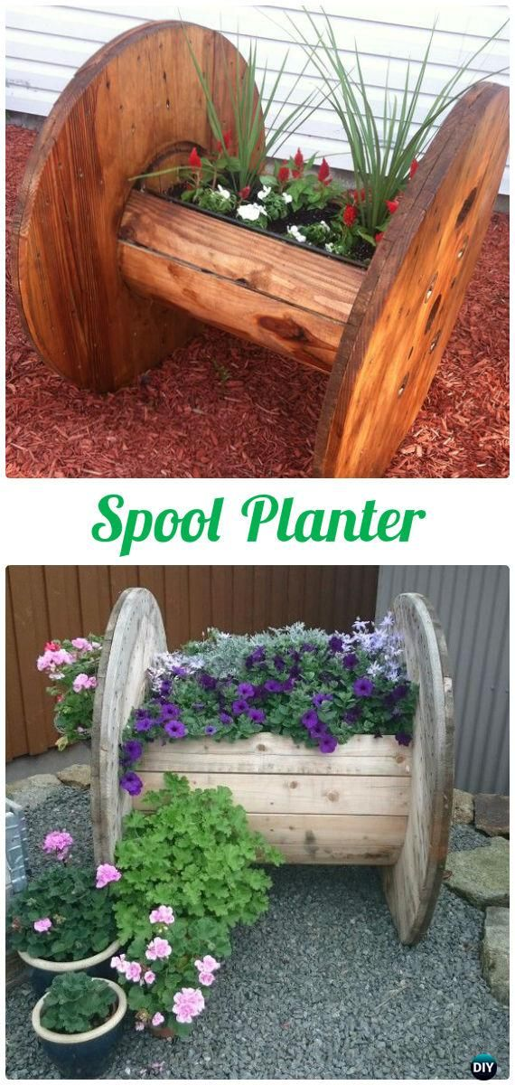 diy wood spool planter wood wire spool recycle ideas. Black Bedroom Furniture Sets. Home Design Ideas