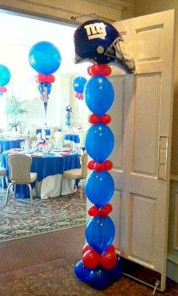 giants football balloon decorations entrance by elegant balloons - Football Decorations