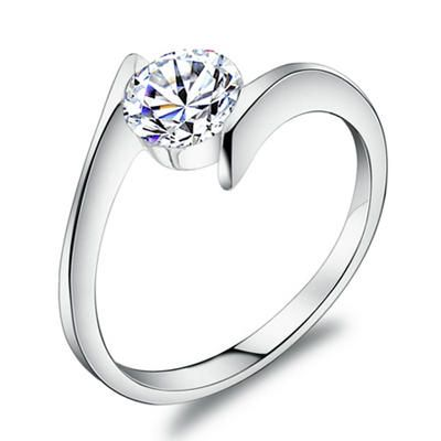 simple 1ct swiss diamond prince setting wedding ring in 925 sterling silver bellast - Wedding Ring Settings