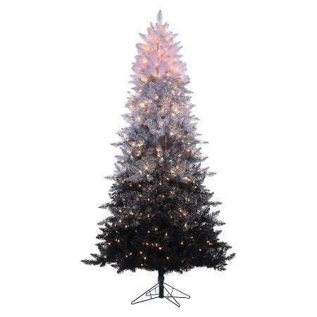 7.5ft Pre-Lit Artificial Christmas Tree Black and White Spruce ...