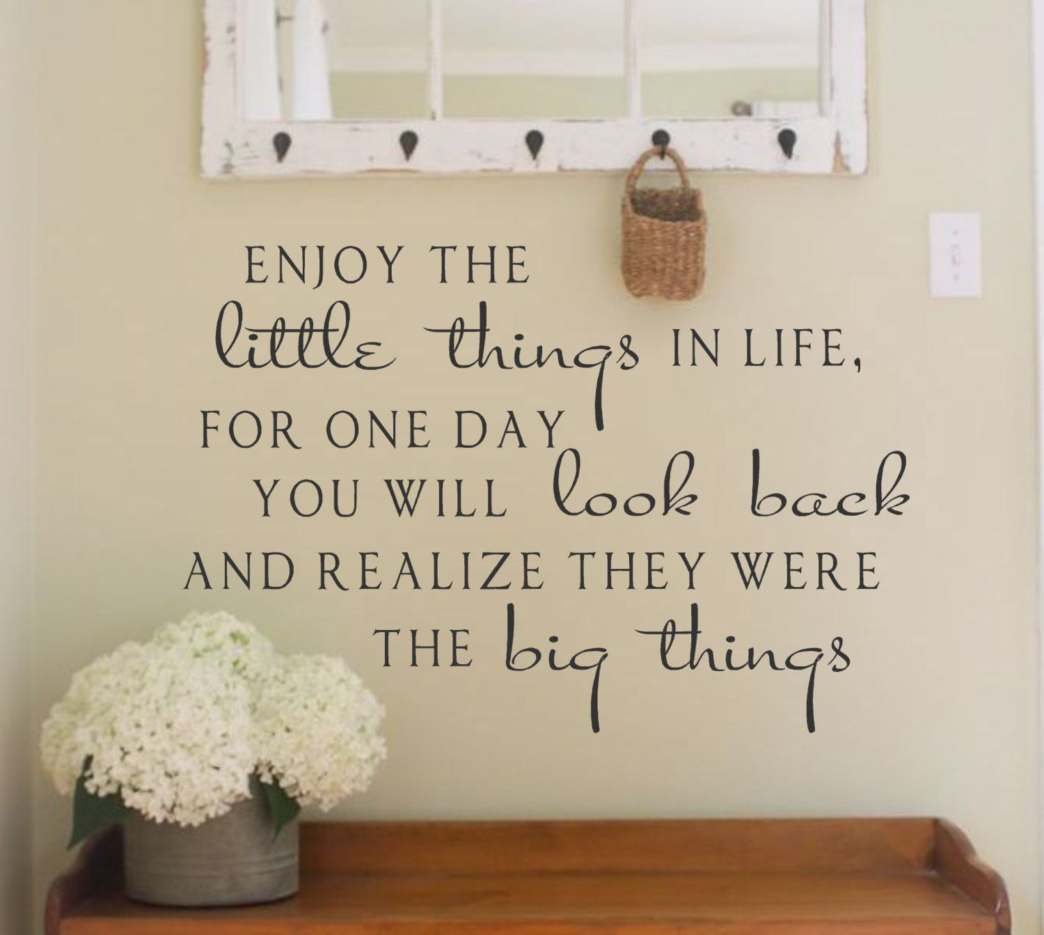 Enjoy The Little Things In Life Vinyl Wall Decal Lettering - Custom vinyl wall decal equipment