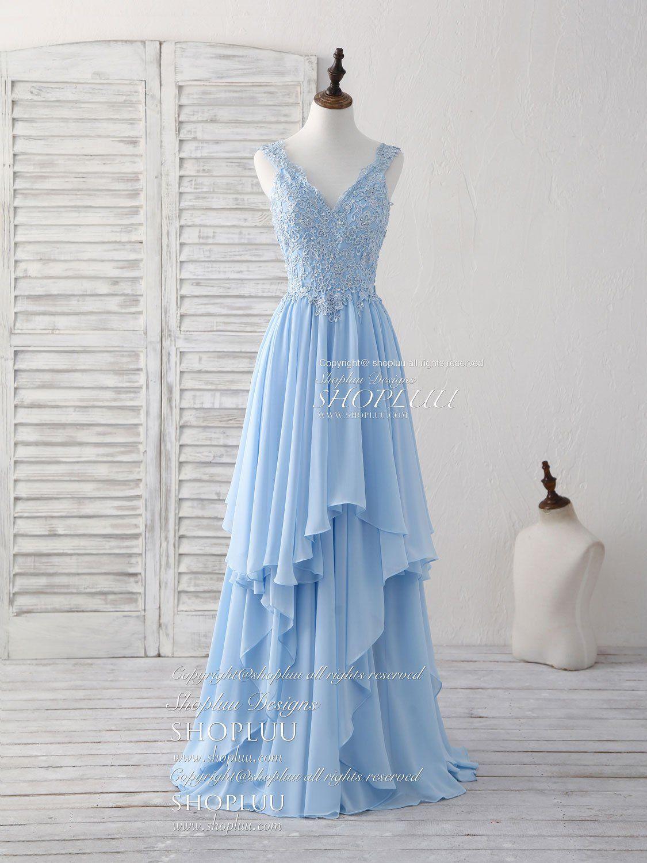 5 Blue v neck applique chiffon long prom dress lace bridesmaid