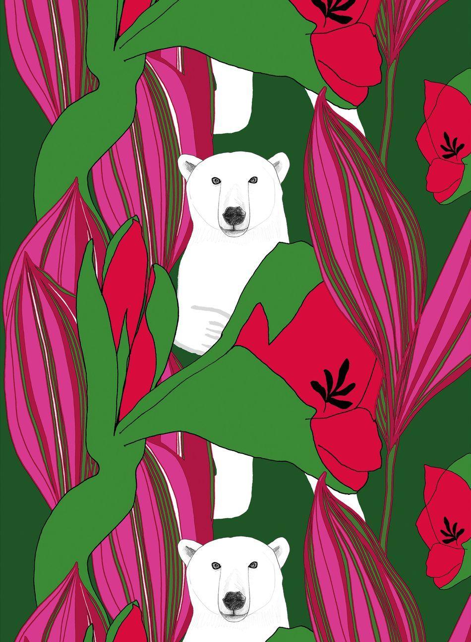 Nanuk-kangas (vihreä,pinkki) |Kankaat, Puuvillakankaat | Marimekko
