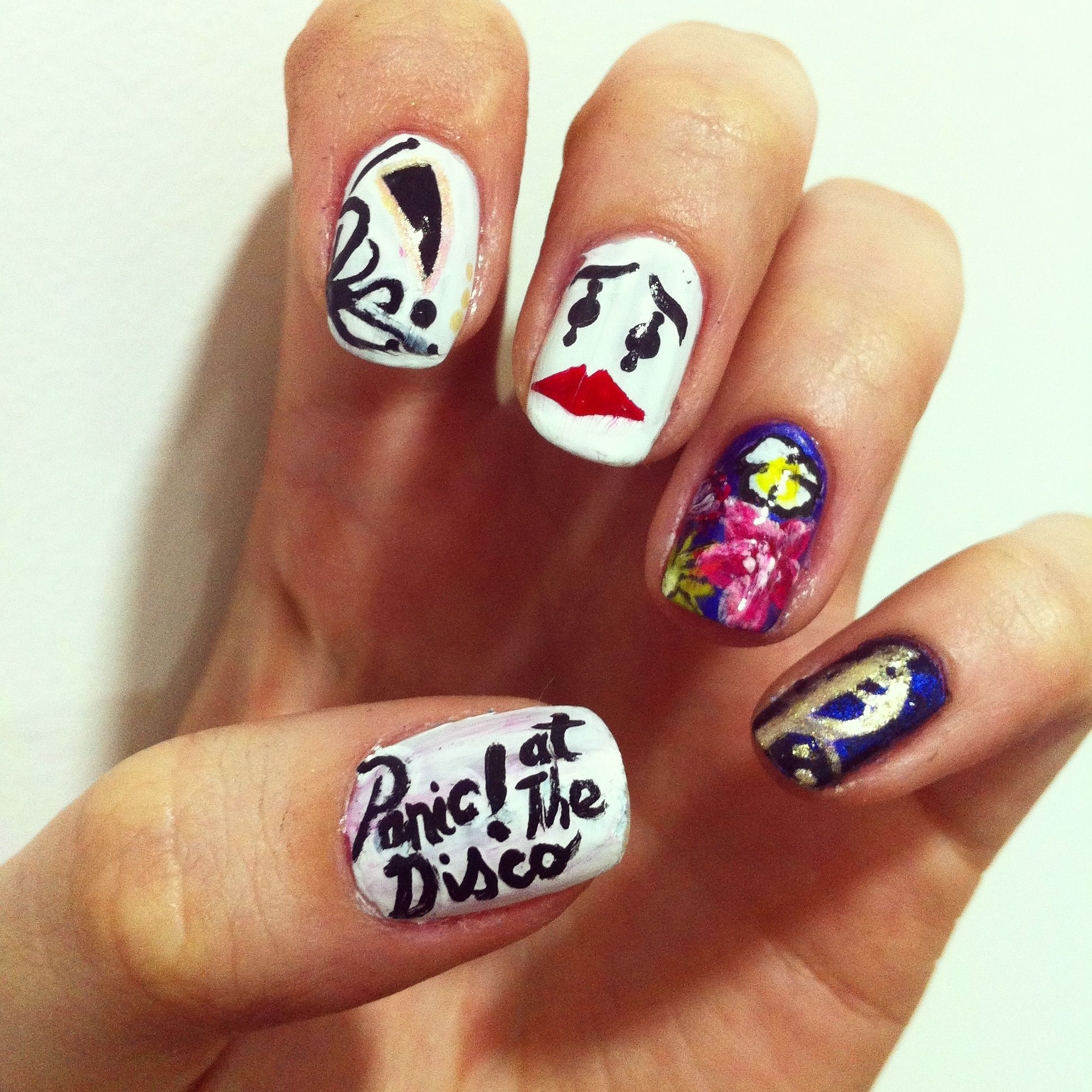 a series of my favourite bands made nail art.. panic at the disco ...