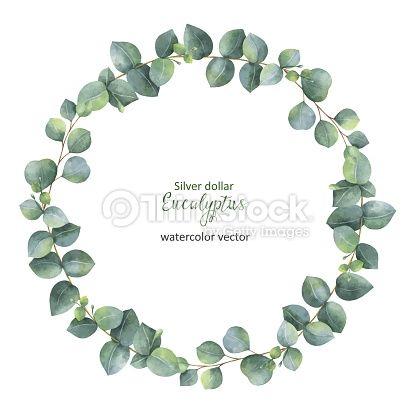 Watercolor Vector Round Wreath With Silver Dollar Eucalyptus