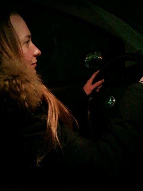 27.1.15 Mijn eerste ritje met privé-chauffeur Judith die vandaag haar rijbewijs binnen heeft.