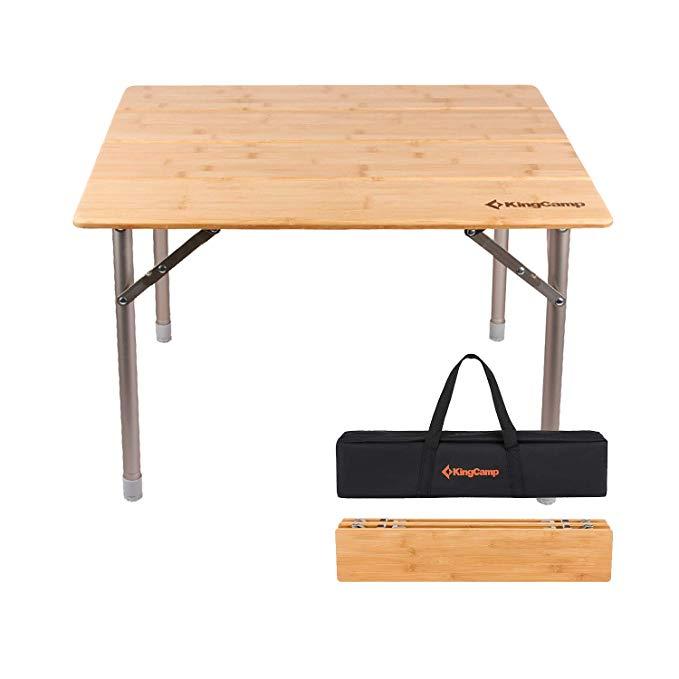 Amazon Com Kingcamp Bamboo Folding Table With Carry Bag 4 Fold Heavy Duty Adjustable Height Aluminum Frame Camping Table Folding Table Portable Picnic Table