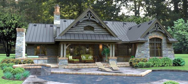 Rear Elevation of Cottage Country Tuscan House Plan 65874 Houses