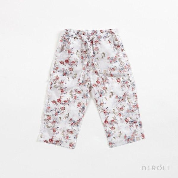 Pantalón de tela estampado largo que se hace corto para bebé y niña de Mon Marcel. #baby #girl #trousers #fashion #NeroliByNagore #SS14 #MonMarcel