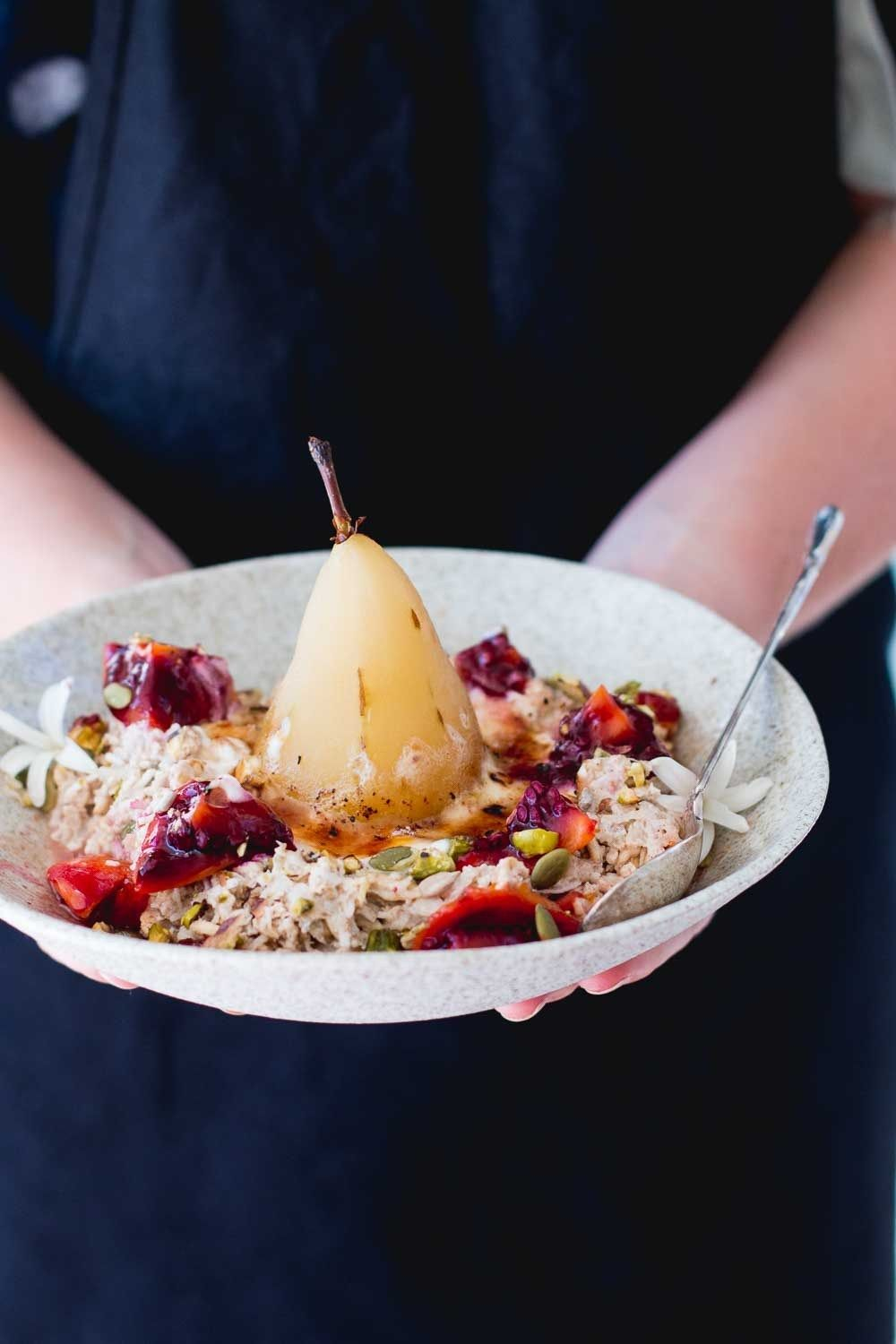 Brûlée Bircher Muesli with Ginger Poached Pear | Recipe ...
