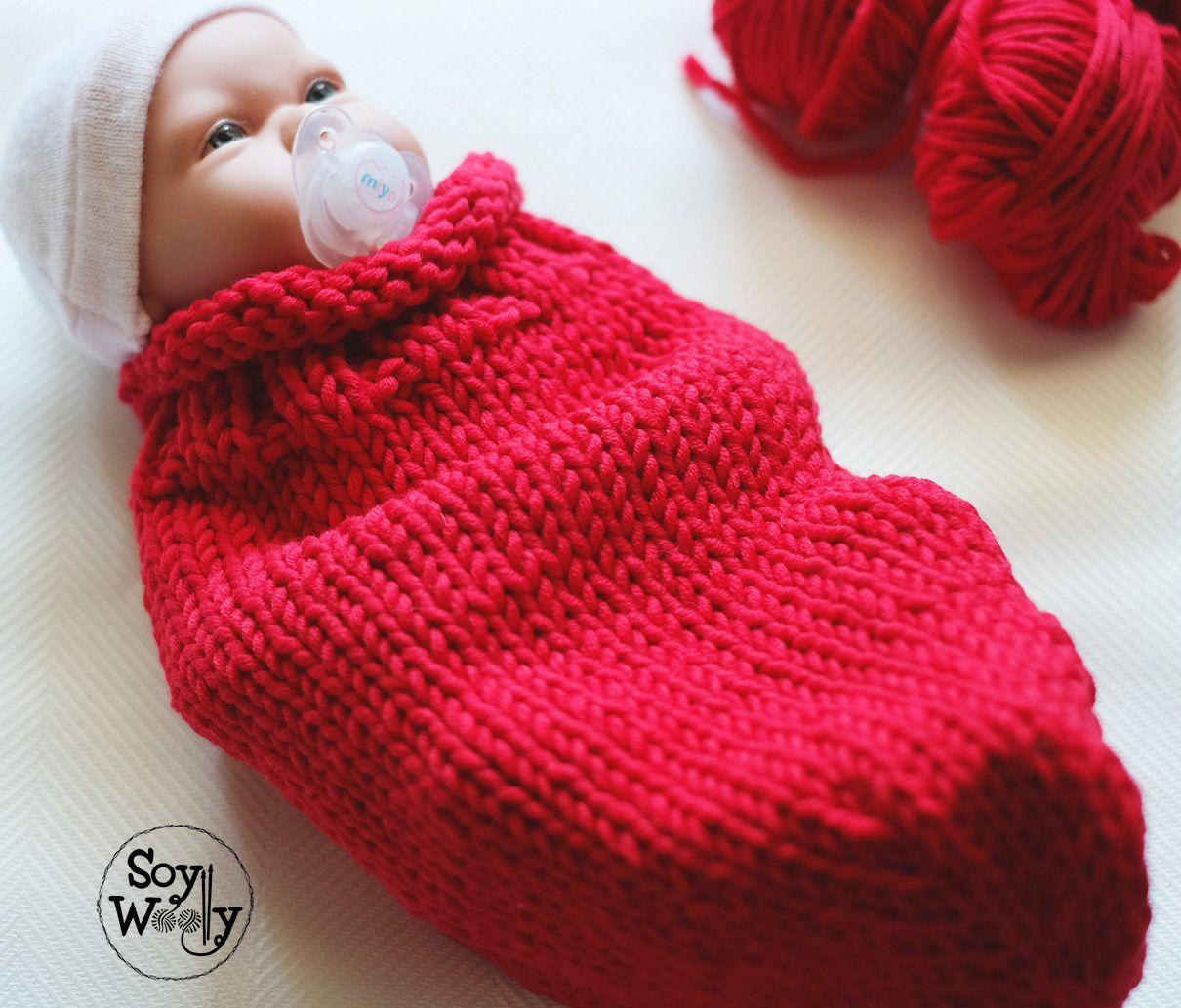 Cocoon-Portabebé-Capullo para recién nacido tejido en dos agujas ...
