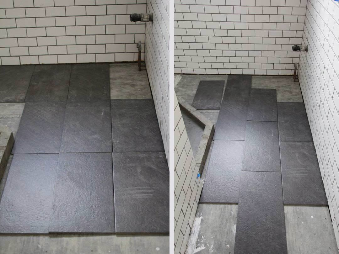 Subway Tile Grey Grout bathroom with walk in shower clawfoot tub ...