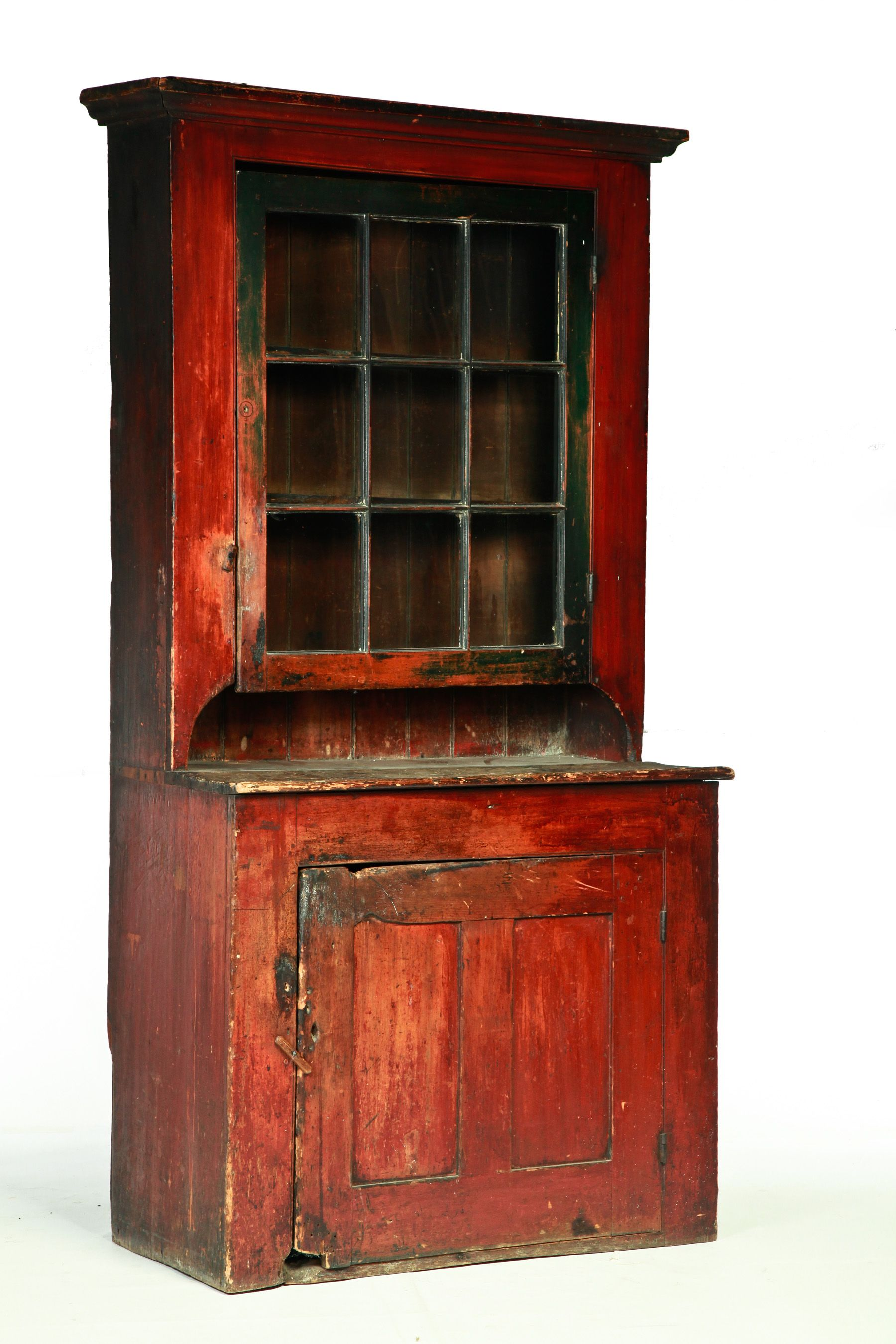 American Country Stepback Cupboard Mid 19th Century Pine