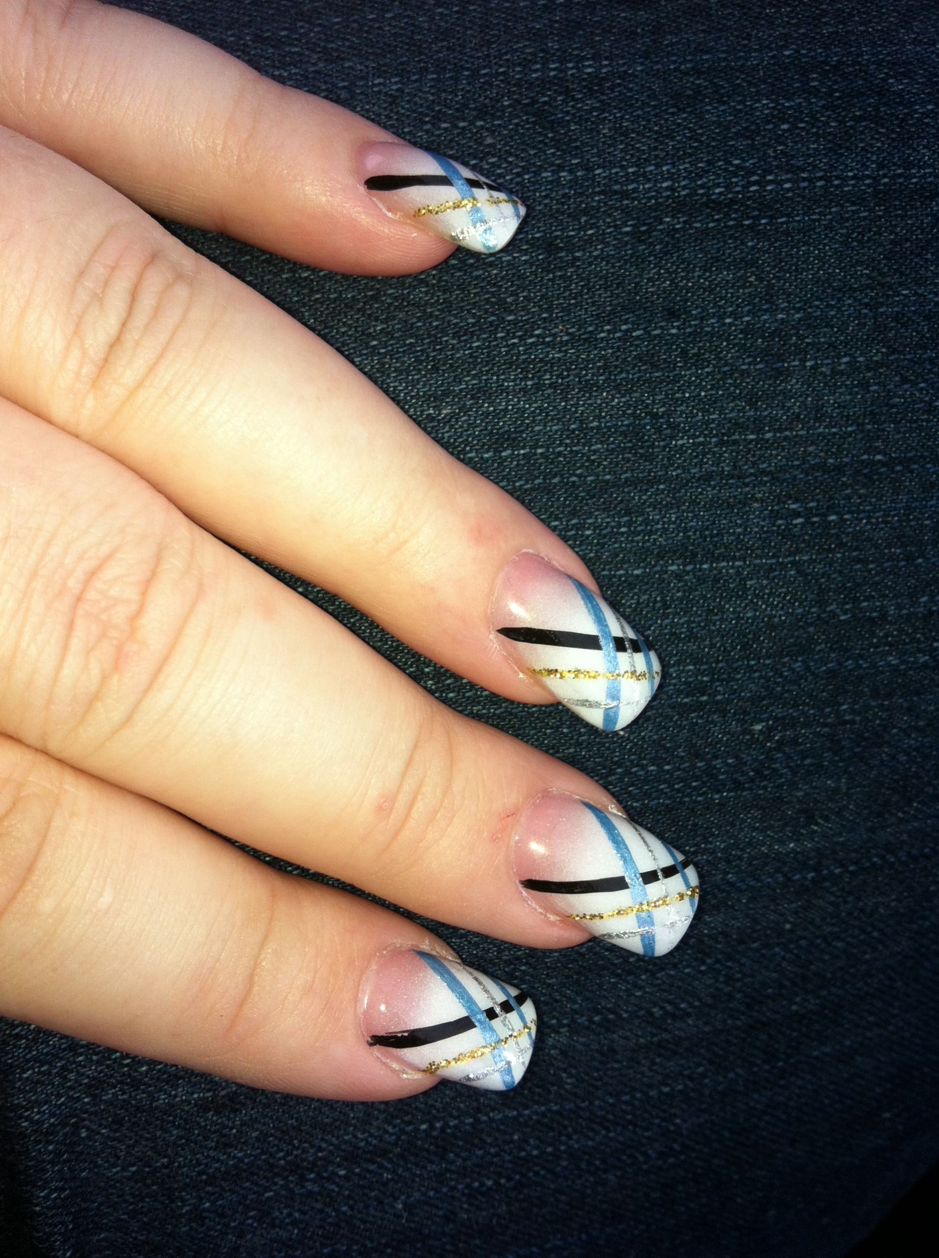 Nails white frosted tips with blue silver gold and black line nails white frosted tips with blue silver gold and black line design prinsesfo Choice Image