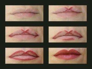 Aplique seu delineador de lábios deste jeito para deixá-lo em forma de arco do Cupido.