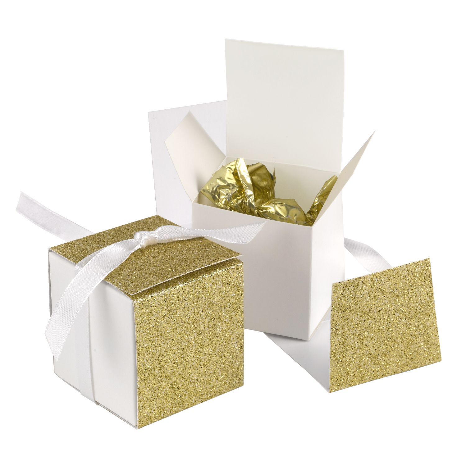 Fingerhut - Hortense B Hewitt - Gliter Wrap Favor Box - Gold ...