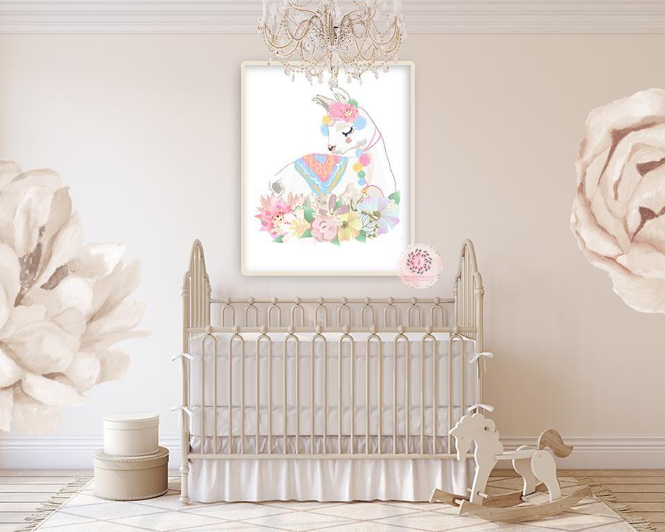 Ethereal Llama Baby Girl Nursery Wall Art Print Boho Alpaca Floral