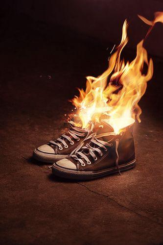 brennender Schuh