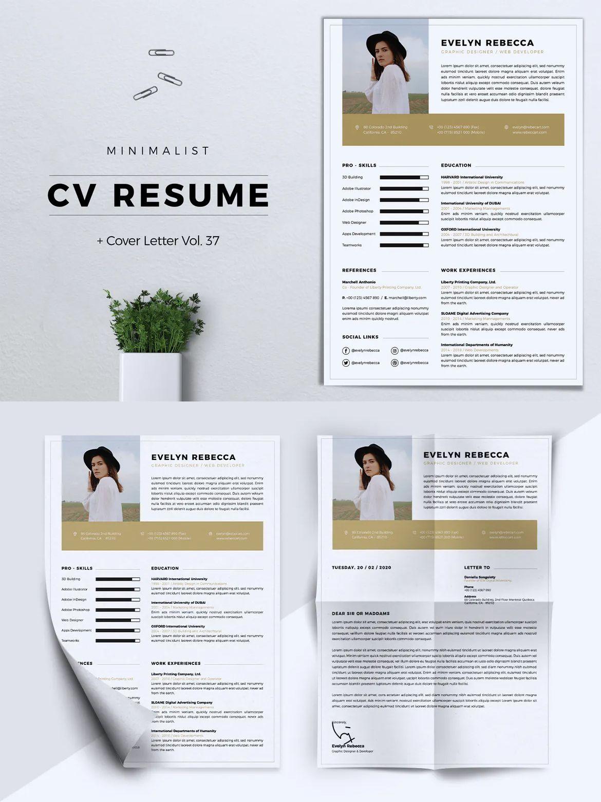 Minimalist CV Resume Vol. 37 by RahardiCreative on Envato