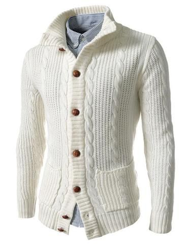 Mens cable knit wool cardigan 66A | Cardigans For Men | Pinterest ...