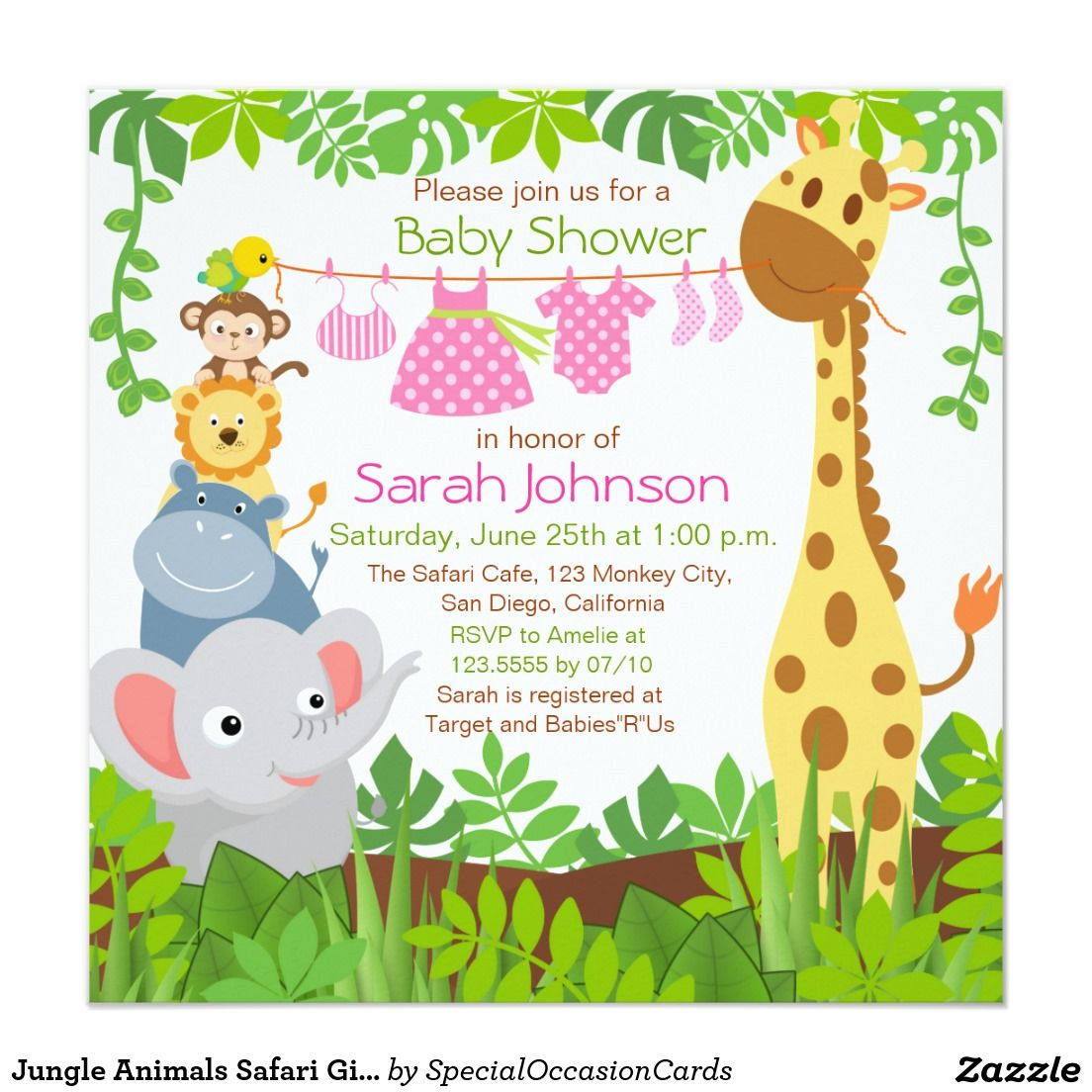 Baby Shower Girl Animal Theme ~ Jungle animals safari girl baby shower invitation