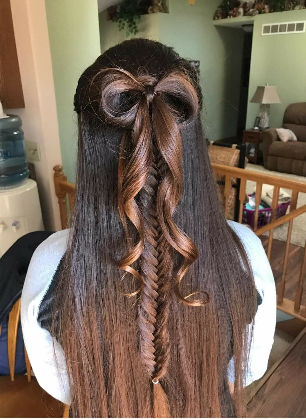 Cute Hair Bow and fishtail braid. Formal/homecoming/Prom ...