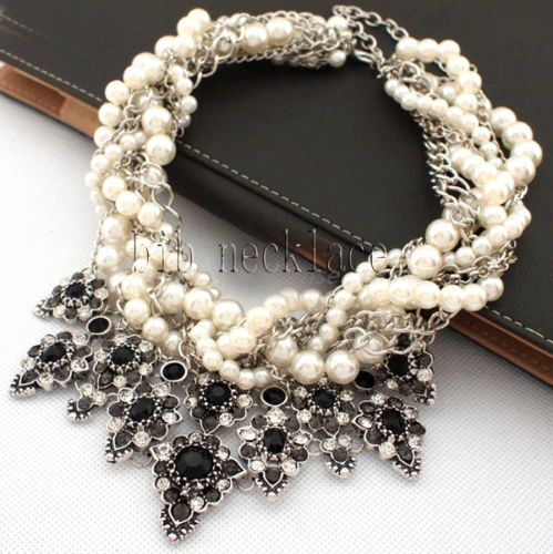 New fashion lady gorgeous multi twist pearls black crystal necklace collar Hot