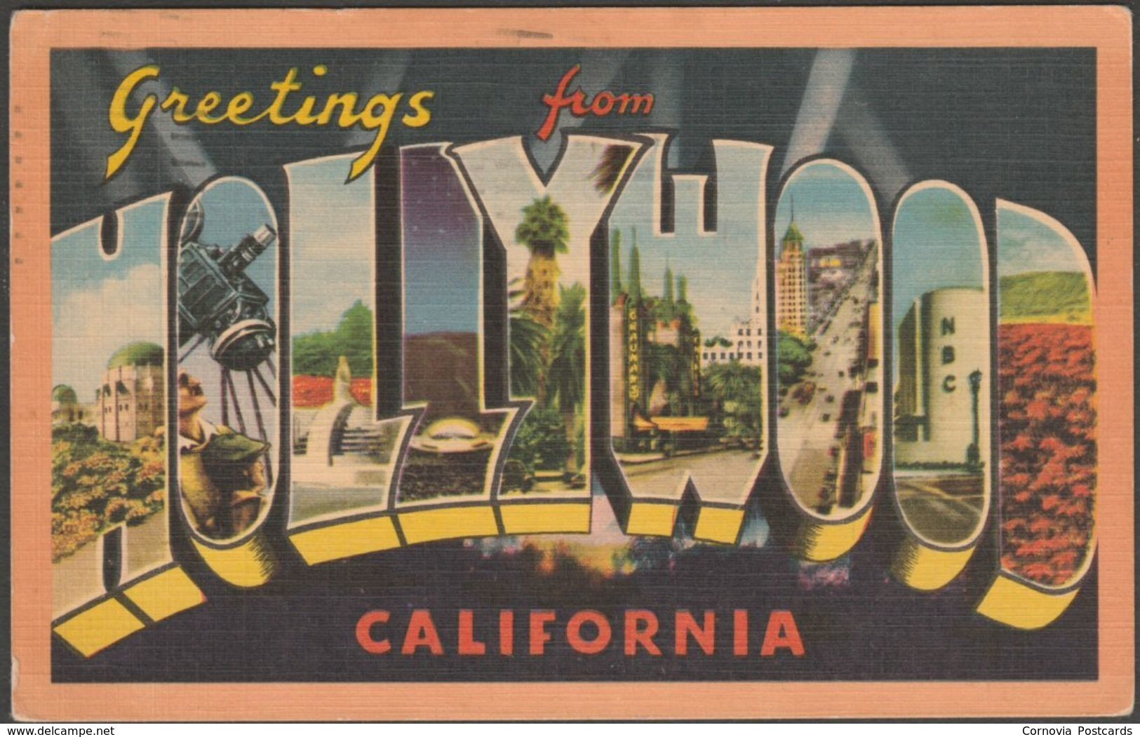 Greetings from hollywood california 1956 longshaw card co greetings from hollywood california 1956 longshaw card co postcard m4hsunfo