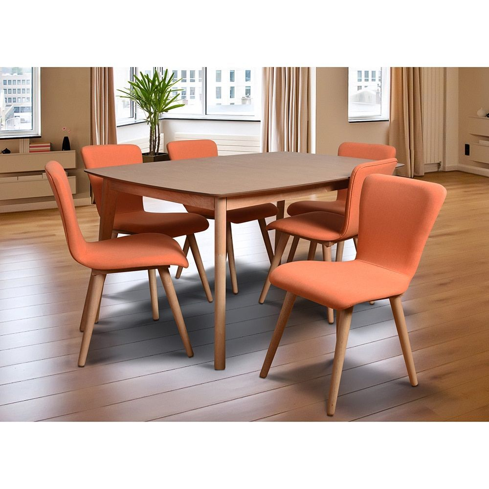 Midtown Concept Dalia Tangerine Midcentury 7Piece Living Room Pleasing Dining And Living Room Sets Inspiration
