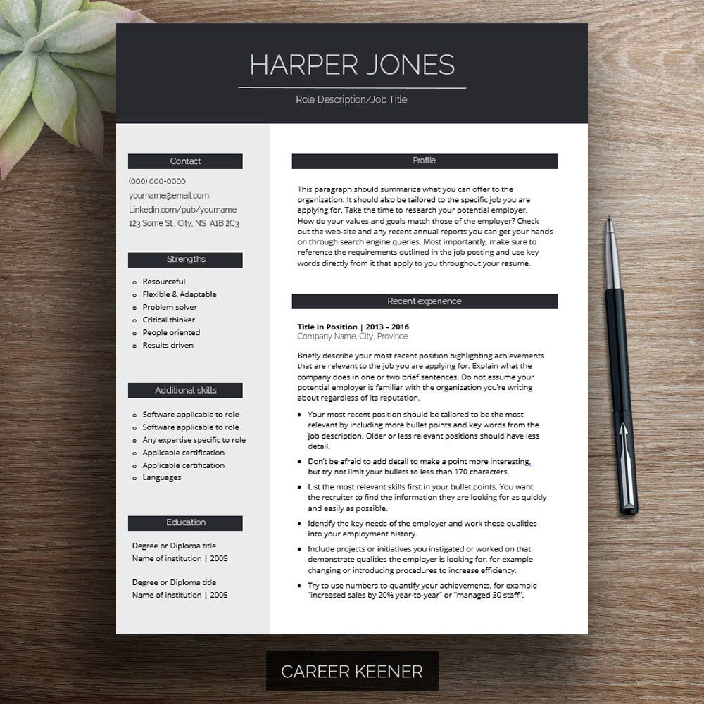 Modern Resume Template For Word, Cover Letter, References, Professional Resume  Design, Creative Resume, Cv Template, Downloadable Resume By CareerKeener  On ...
