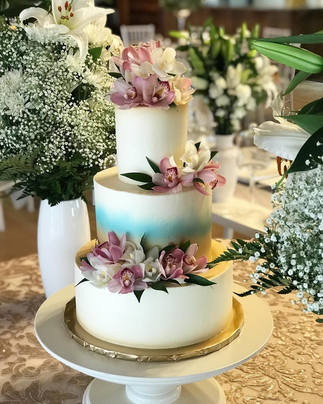 Lovely 3 Tier Buttercream Wedding Cake Mariannewhite: Three Tier Buttercream Cake With Fresh Florals. Congrats