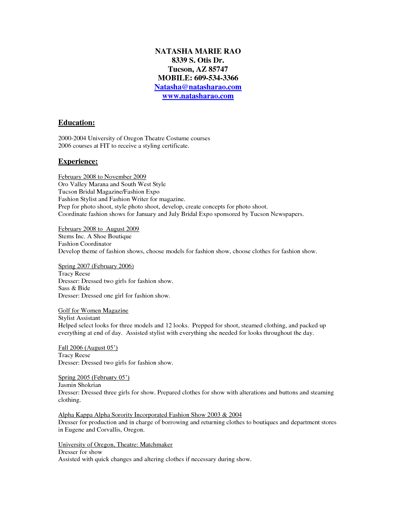 clothing stylist resume samples http www resumecareer info