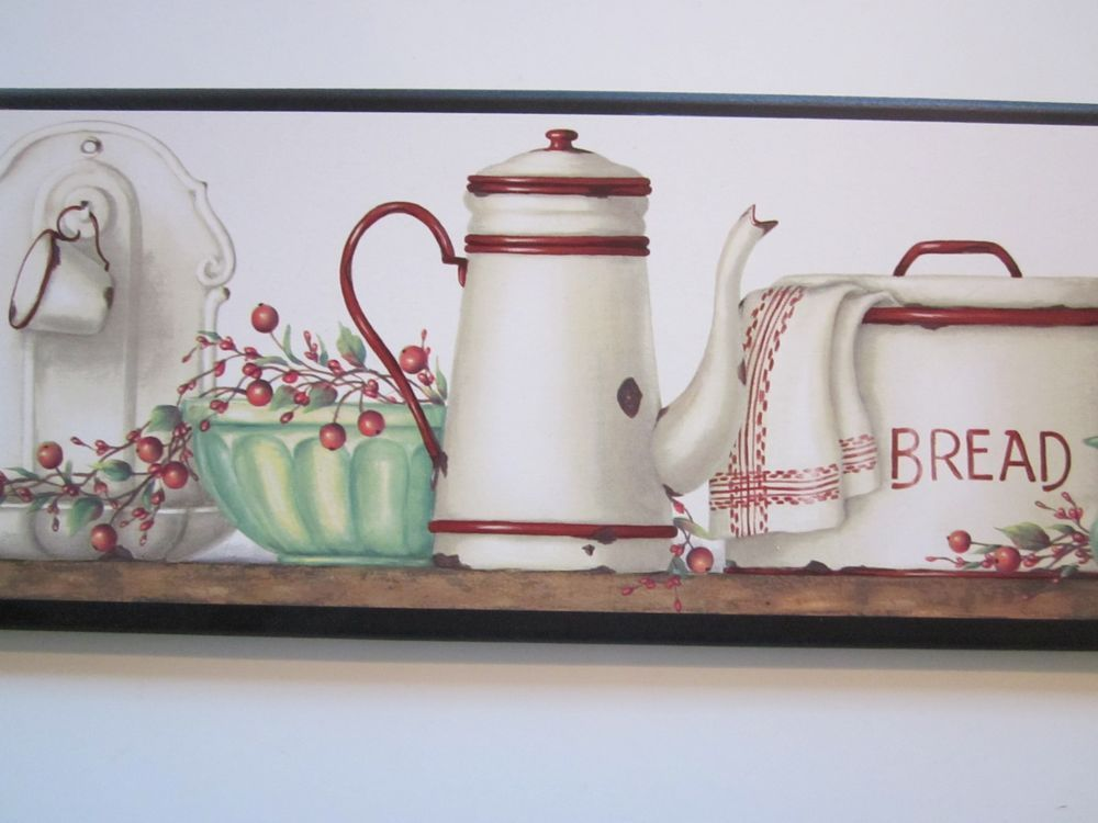 Country kitchen wall decor plaque red white antique