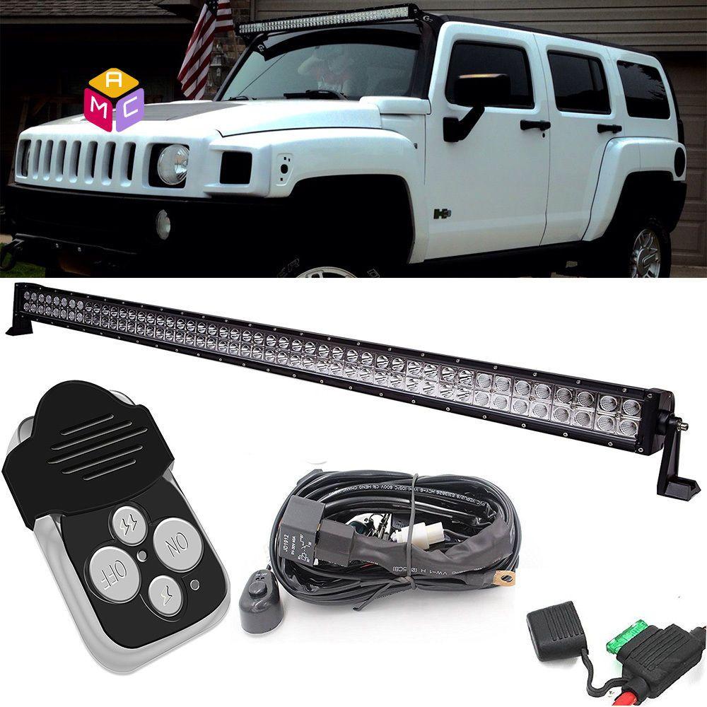 Led Light Bar Spot Flood For Hummer H3 1 Lead Remote Control Wiring Switch Kit Macauto Led Light Bars Bar Lighting Led Lights
