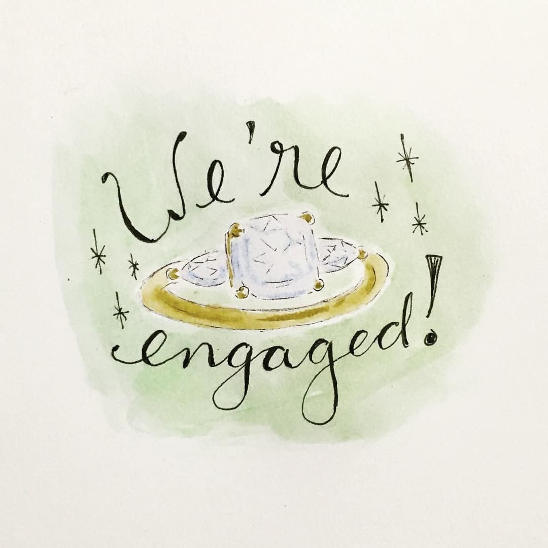 Custom watercolor ring illustration for engagement announcement, by Sweet Ink. IG @sweetinkdesignco