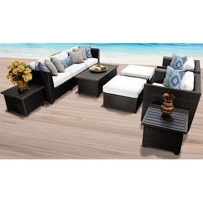 Sol 72 Outdoor Tegan 10 Piece Sectional Seating Group With Cushions Wicker Patio Furniture Outdoor Wicker Patio Furniture Patio Furniture Sets