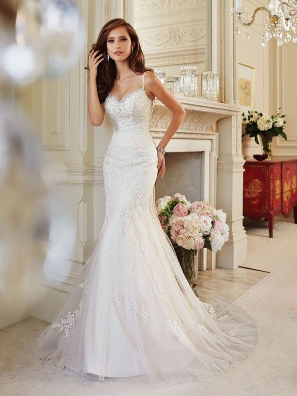 Misty Tulle And Lace Sweetheart Neckline And Sleeveless Slim A Line Wedding Dress Y21444, Wedding dresses 2014 ~ Feenwedding.Com