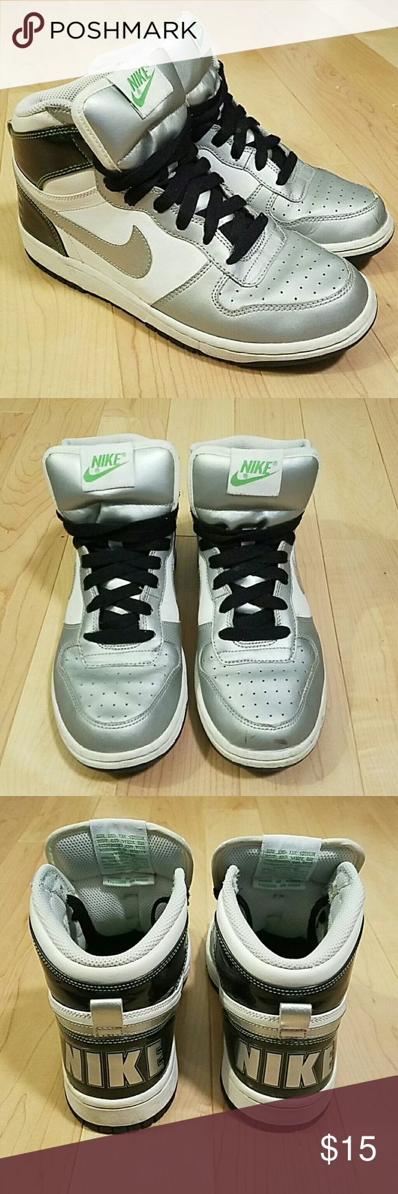 Nike high top sneakers Metallic, white, and black with small green details Nike Shoes Sneakers
