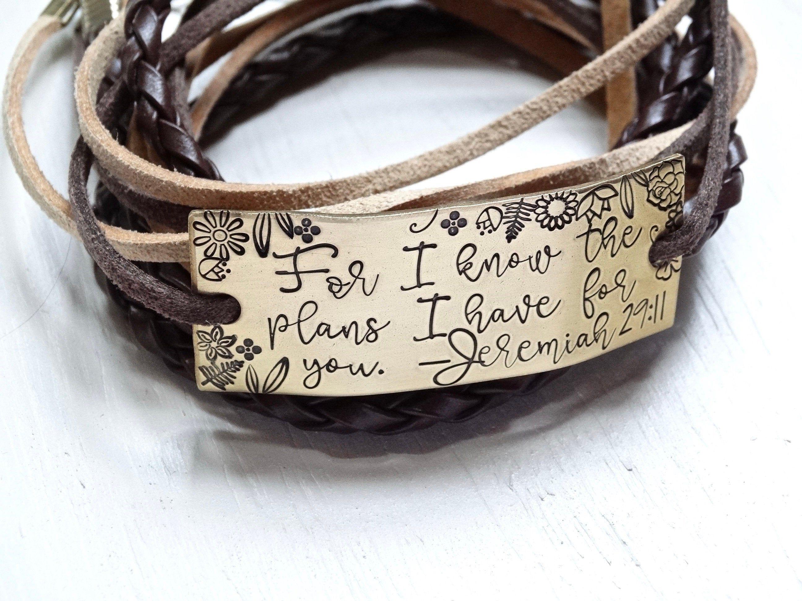 Stamped Aluminum Braided Bracelet Woven Bracelet Bracelet Be the Light Bracelet Be the light Inspirational Macrame Bracelet