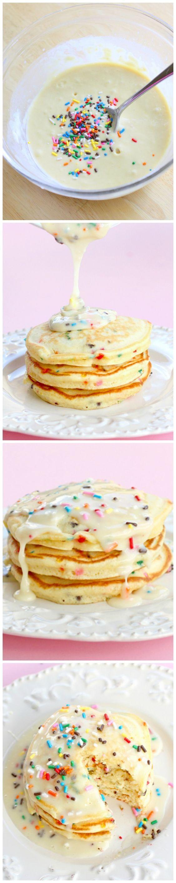 Cake Batter Pancakes #cakebatter