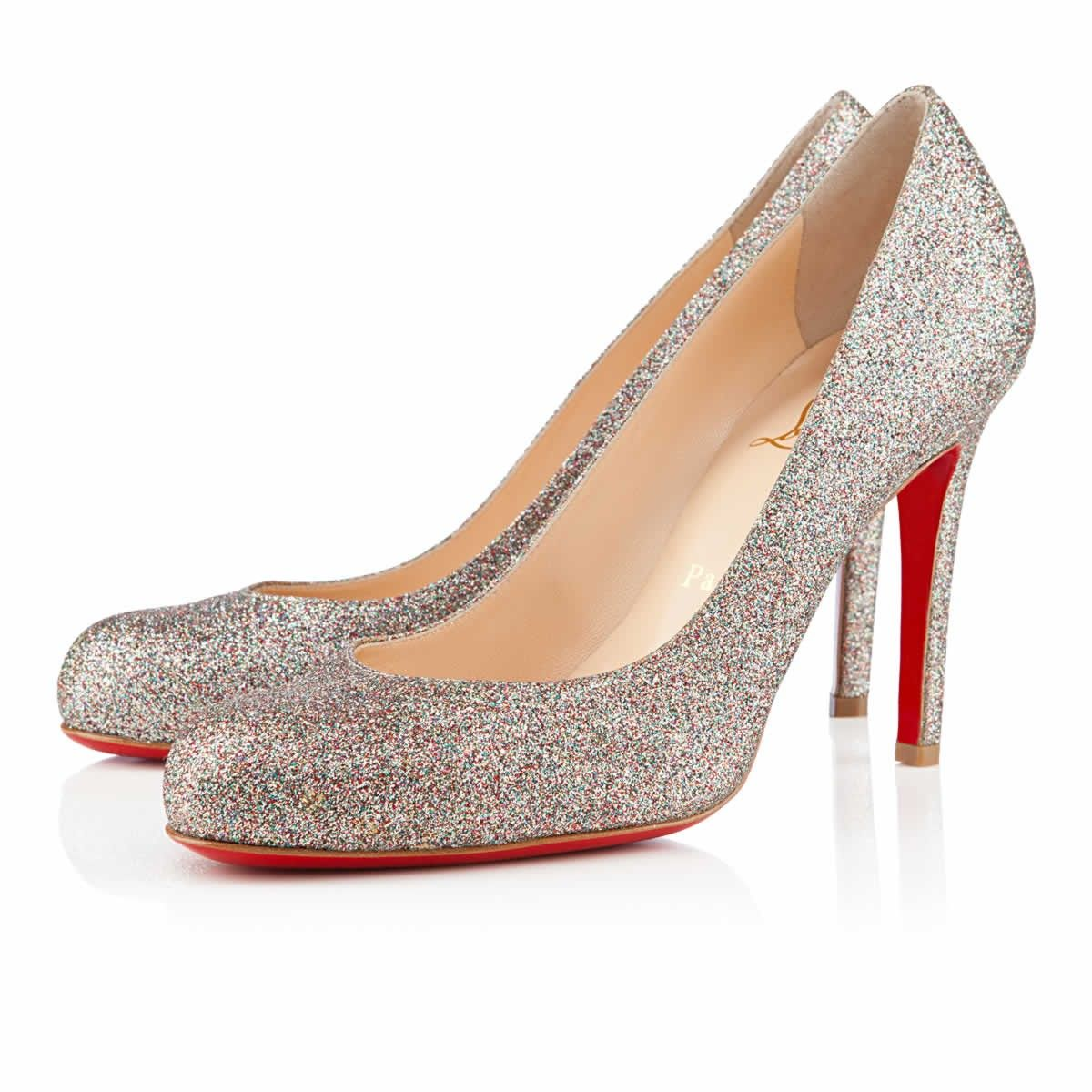 christian louboutin glitter simple bridal pumps
