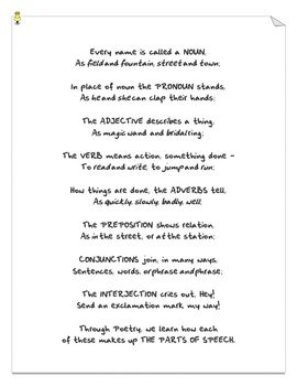 FREE - Parts of speech poem. Great for students to memorize. Helps ...