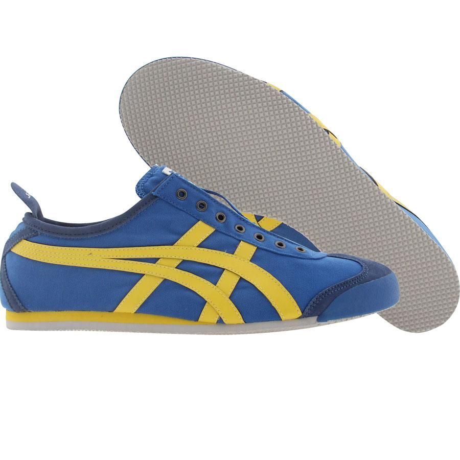 the latest 91926 aa071 Asics Onitsuka Tiger Mexico 66 Slip On CV shoes in royal blue and yellow