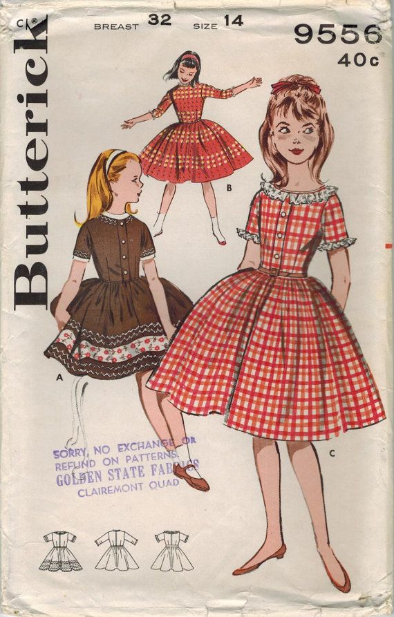 1960s Butterick 9556 UNCUT Vintage Sewing Pattern Girl\'s Full Skirt ...