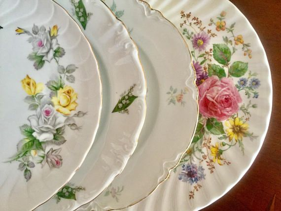4 Mismatched Vintage China Dinner Plates Weddings Bridal/Tea : dinnerware for weddings - pezcame.com