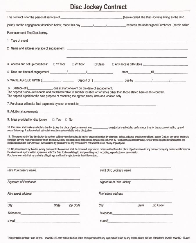 Amazing Free And Printable Disc Jockey Contract Form   RC123.com   D J Contracts In Printable Contracts